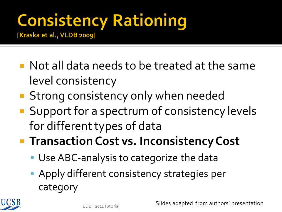 Consistency Rationing [Kraska et al., VLDB 2009]